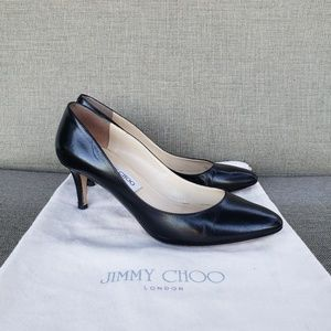 Jimmy Choo Vega Black Leather Heels